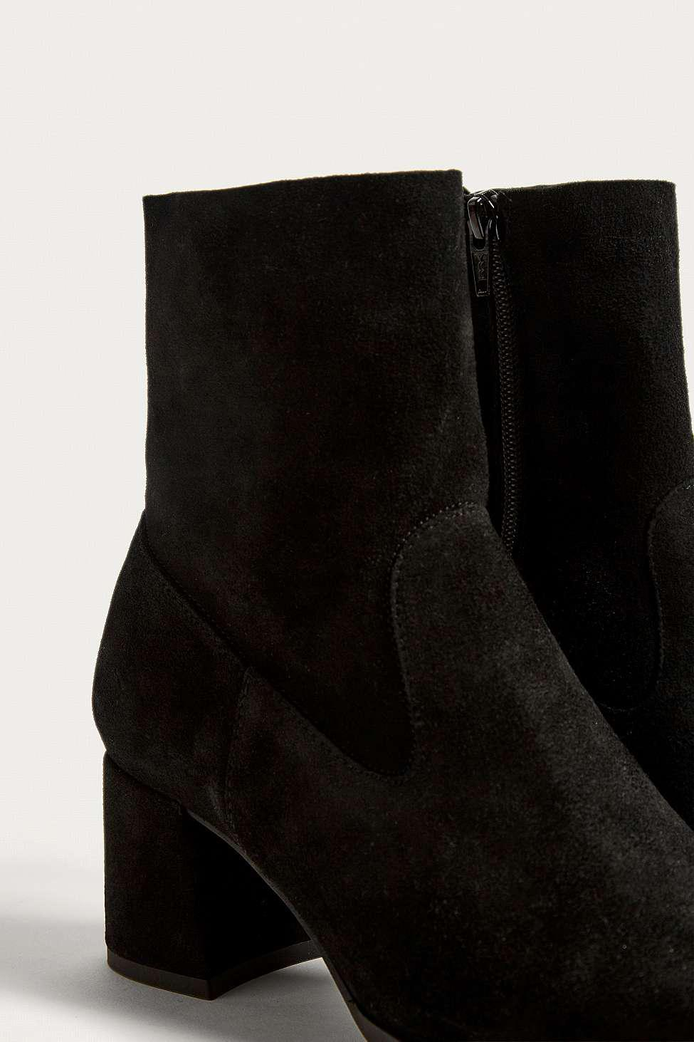 Urban Outfitters Blake Suede Square Toe Boots in Black