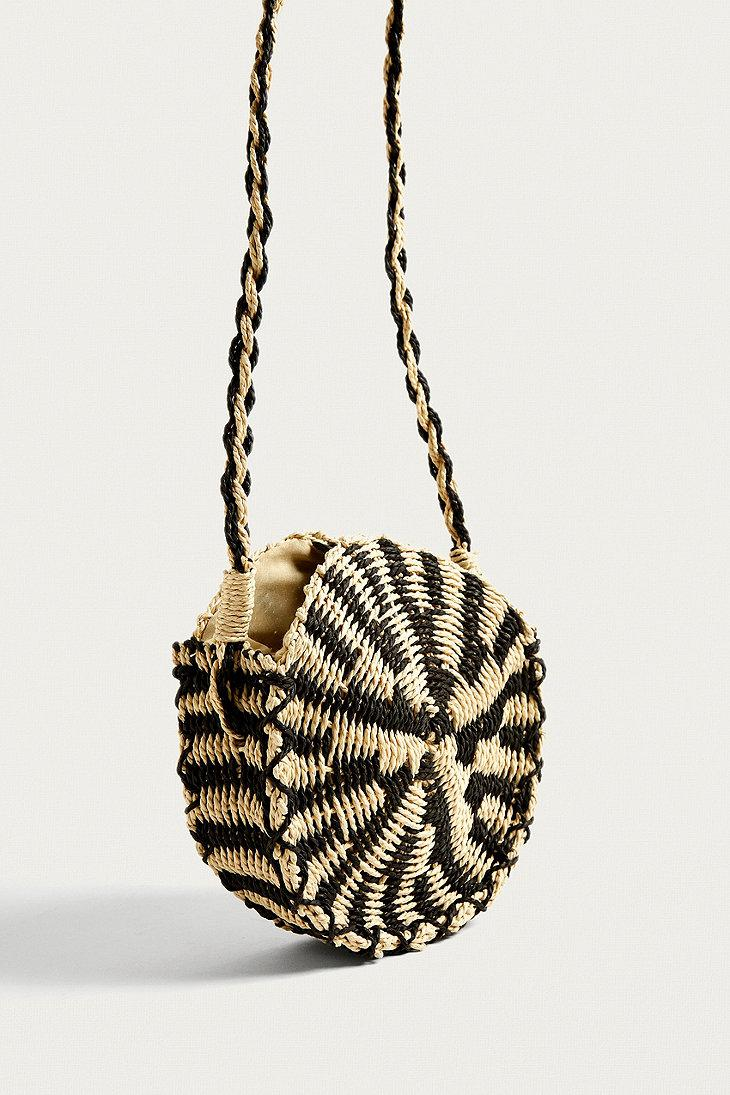 Urban Outfitters Uo Black And White Round Straw Crossbody