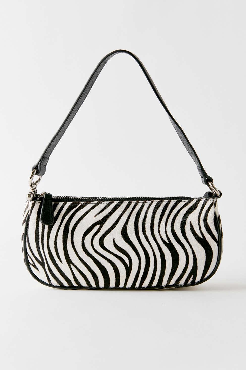 Zebra Print Baguette Bag In Black