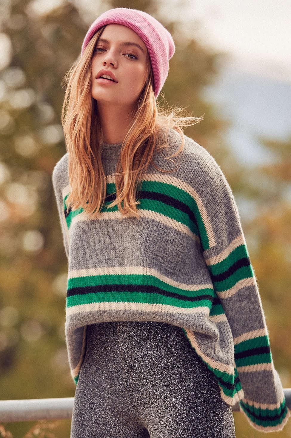 f39a09ee0b Urban Outfitters Uo Oversized Striped Boyfriend Sweater in Gray - Lyst