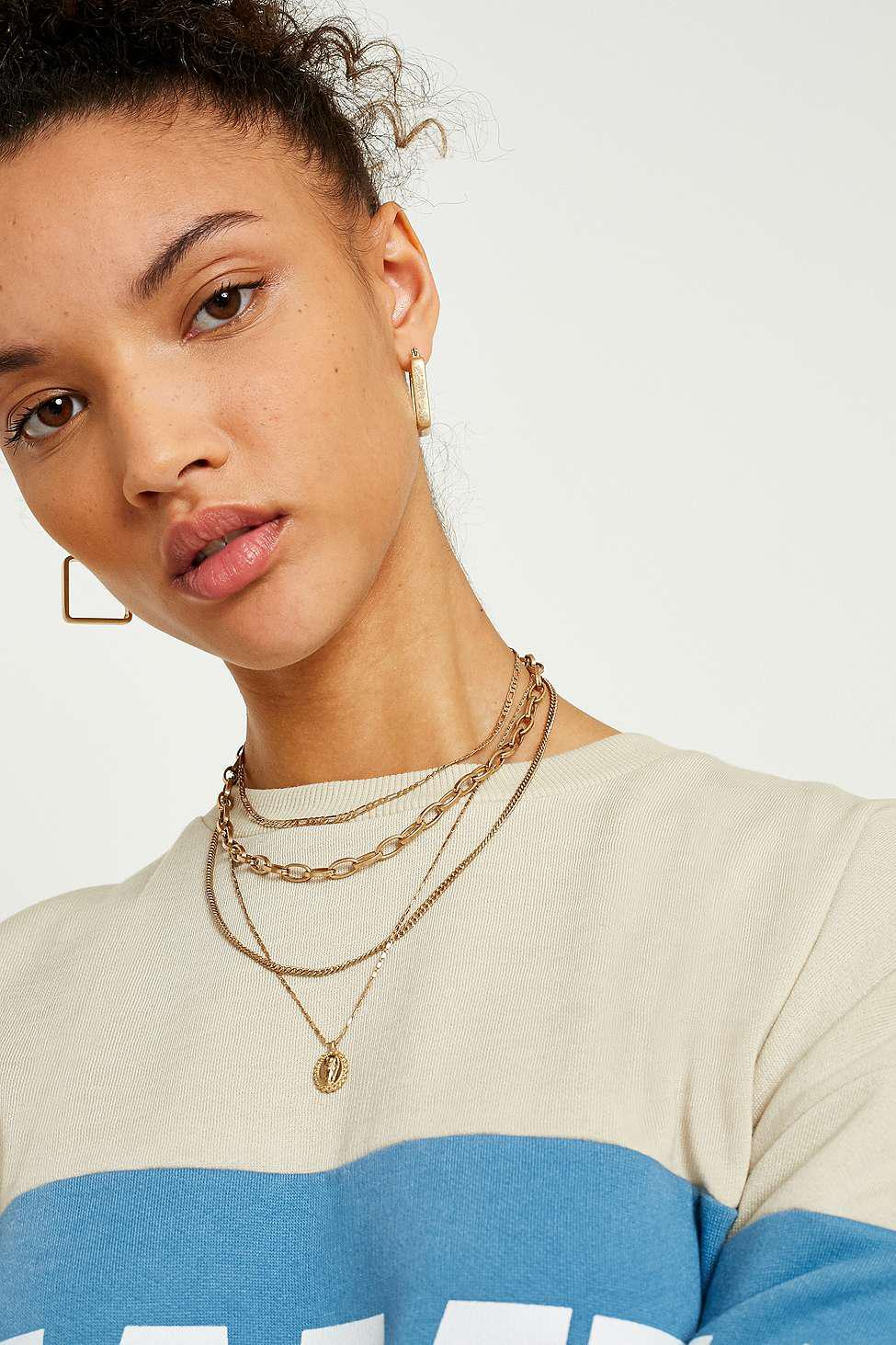 Urban Outfitters Link Chain And Charm Layering Necklace 2-pack in Gold (Metallic)