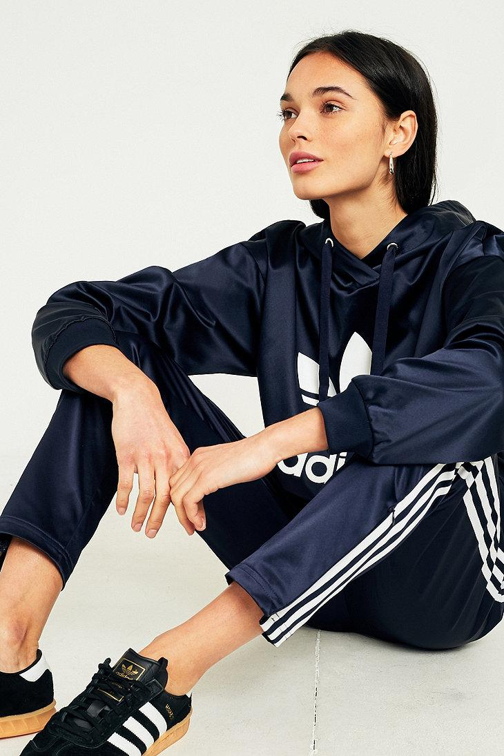 adidas Originals Europa Navy Satin Track Trousers in Navy