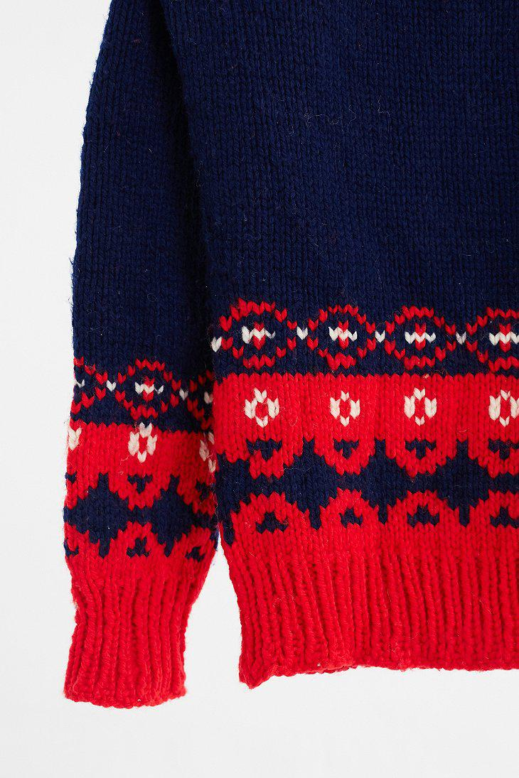 Urban outfitters Vintage Navy   Red Fair Isle Ski Sweater | Lyst