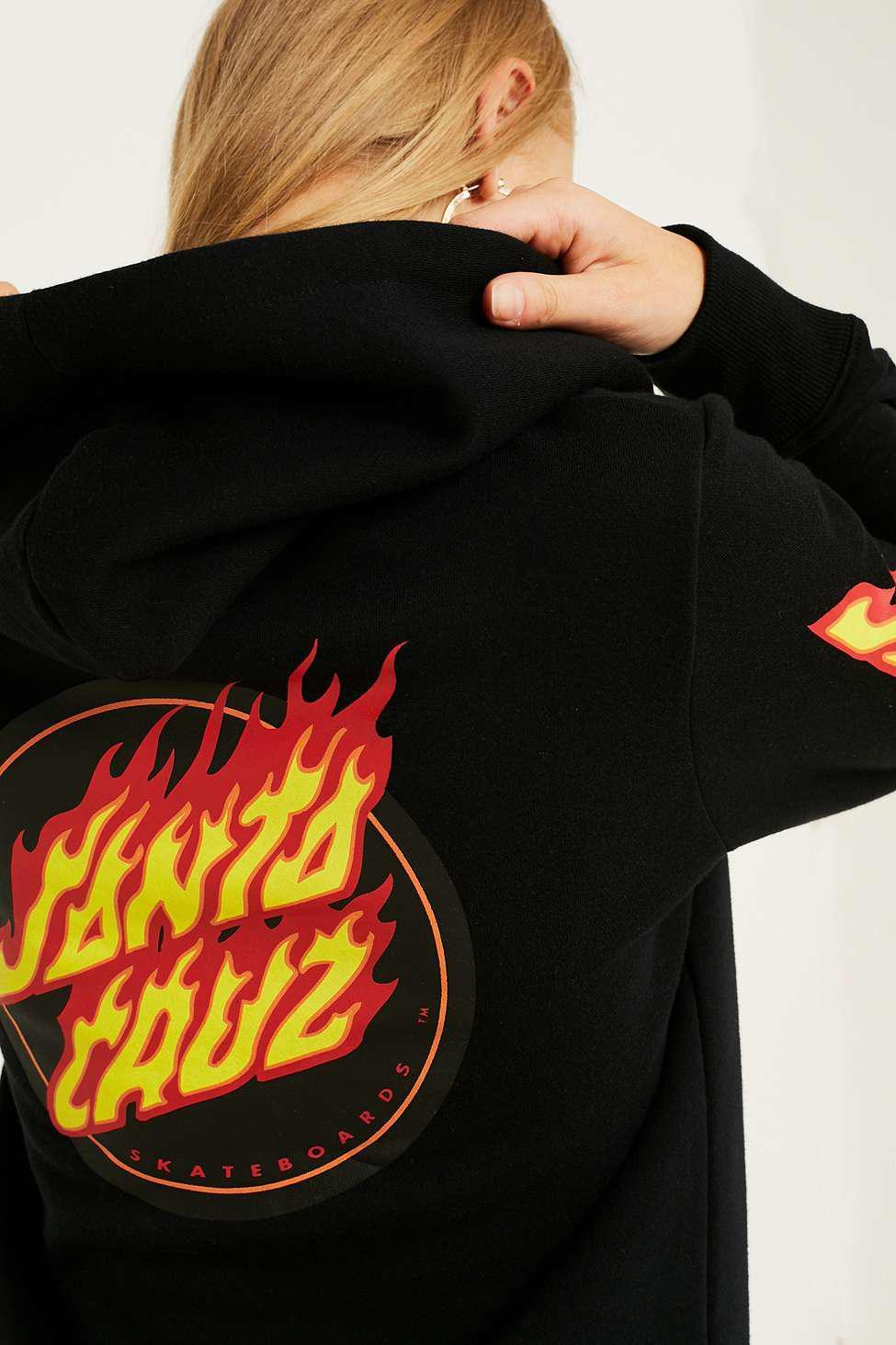 318971de86d Santa Cruz Black Flame Dot Hoodie - Womens Uk 6