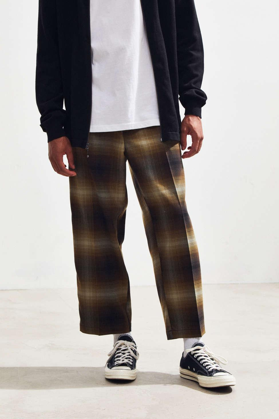 Urban Outfitters Brown Uo Wide Leg Check Skate Chino Pant for men