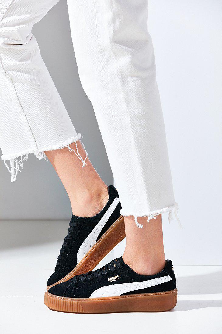 Lyst - PUMA Basket Suede Platform Sneaker in Black c54c13793