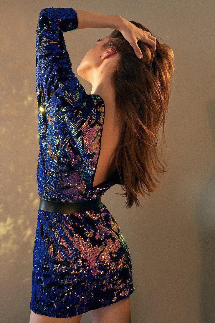 Urban Outfitters Uo Magic Velvet Sequin Mini Dress In