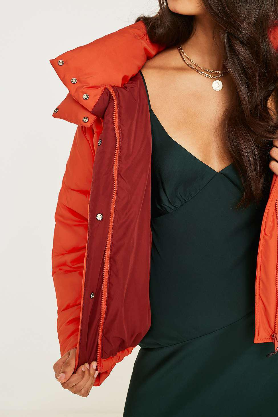 06fa73996ba1 Urban Outfitters Uo Orange Contrast Lined Pillow Puffer Jacket ...