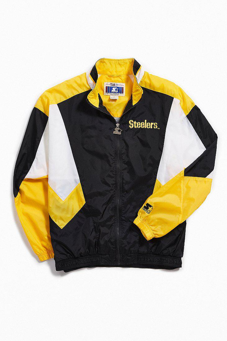 sale retailer 7c144 77181 Men's Black Vintage Starter Pittsburgh Steelers Coach Jacket