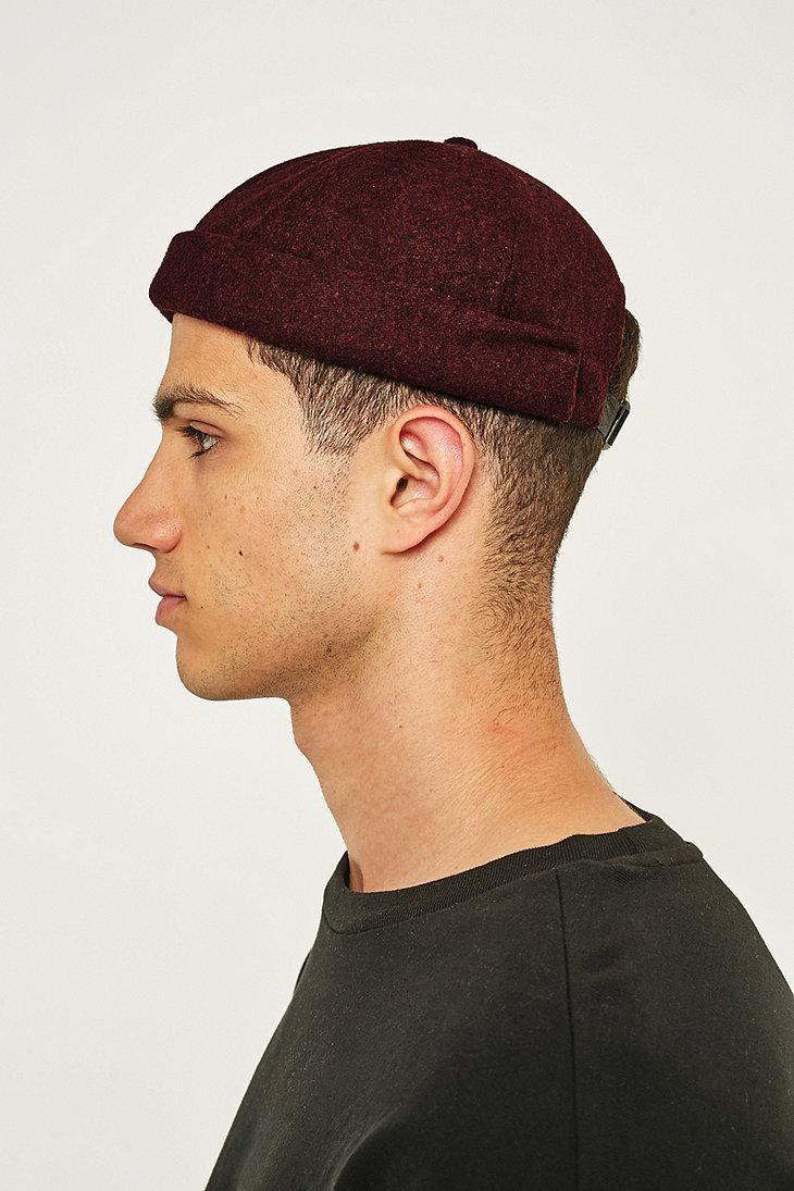 Urban Outfitters Uo Burgundy Melton Docker Cap for Men - Lyst 81297558048