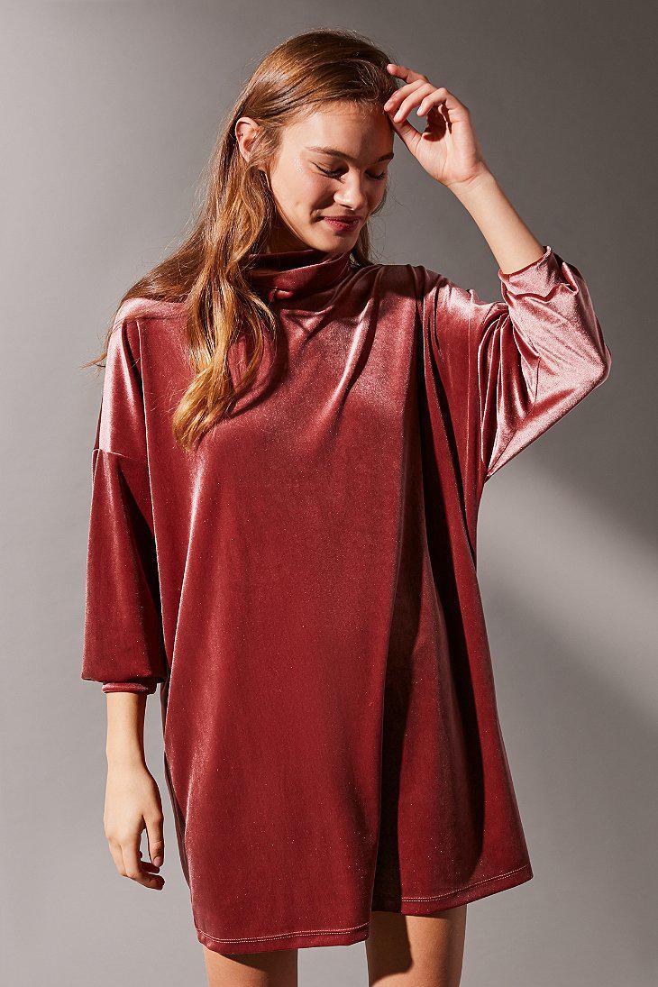 779c046e3 Urban Outfitters Uo Evie Velvet Turtleneck Mini Dress in Brown - Lyst