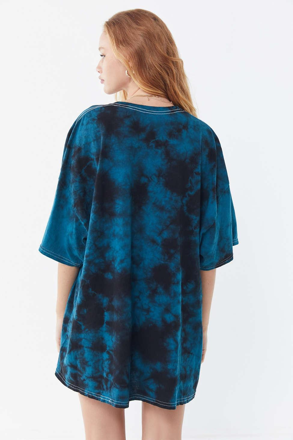 cb949e52fb11e Urban Outfitters Def Leppard Tie-dye T-shirt Dress in Blue - Lyst
