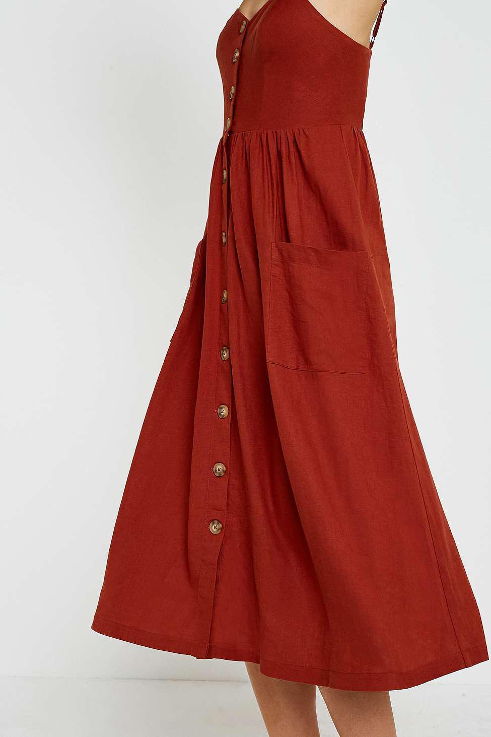 6d3d6a82e4 Urban Outfitters Uo Emilia Rust Button-through Midi Dress - Womens S ...