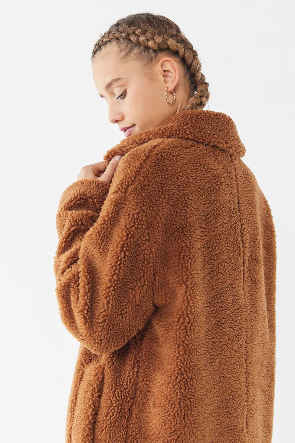 46094344c Women's Brown Uo Teddy Duster Coat