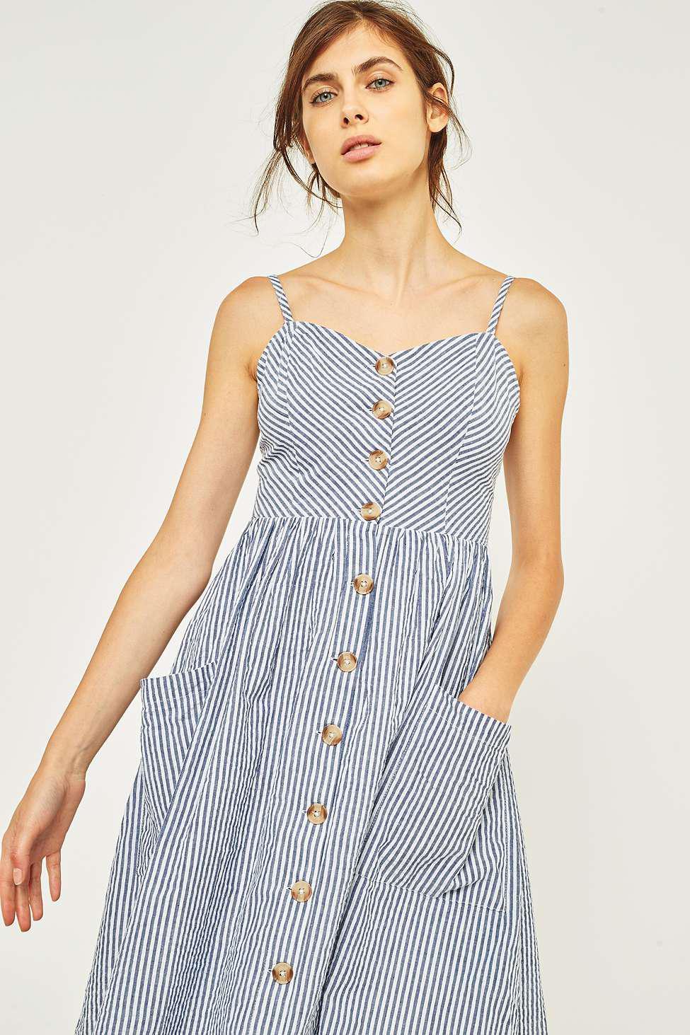 aaa9c76e44 Kimchi Blue Emilia Seersucker Linen Button-down Midi Dress - Womens ...