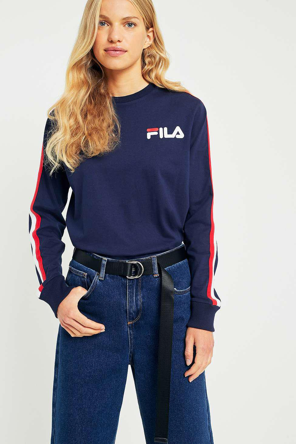 fila alina navy striped long sleeve t shirt in blue lyst