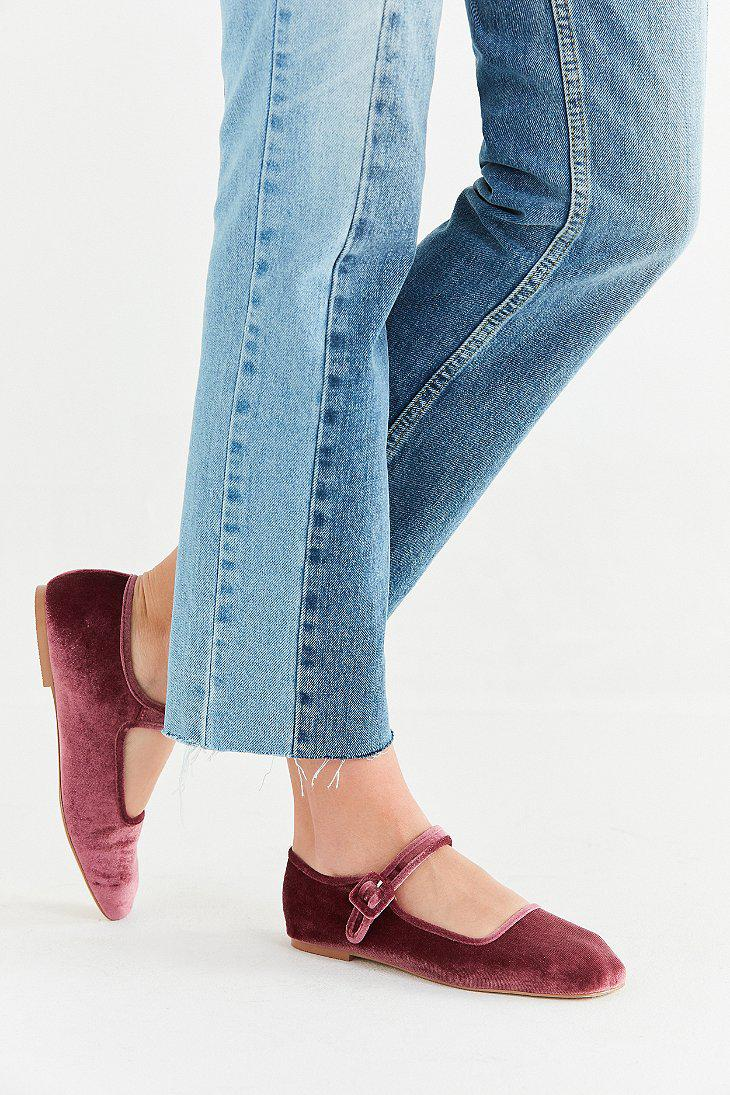 Urban Outfitters Uo Velvet Mary Jane Flat In Rose Blue Lyst