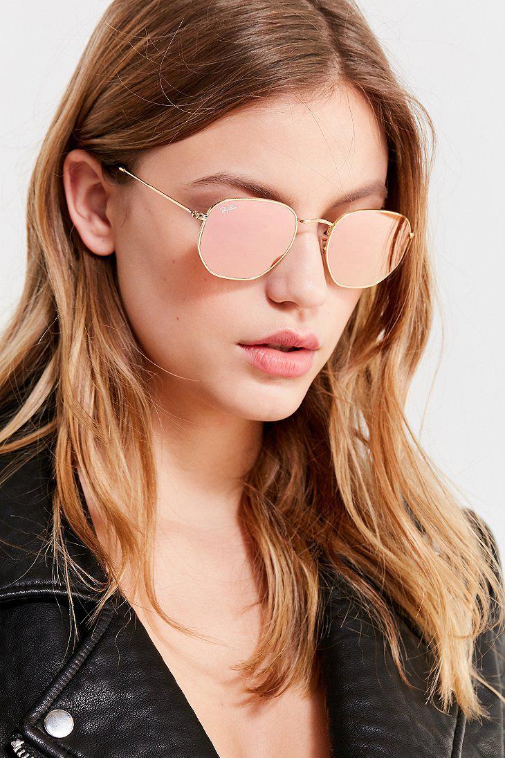 f1ac3f1a7bb Lyst - Ray-Ban Ray-ban Hexagonal Flat Lens Gold Sunglasses in Metallic