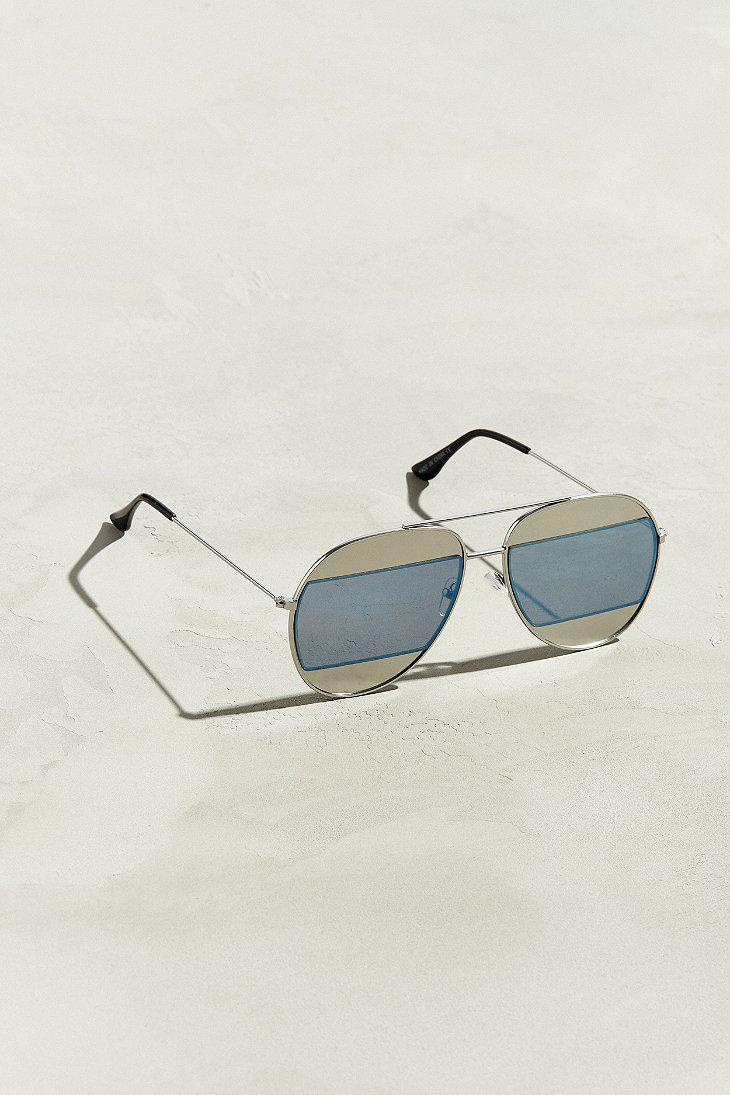 4db0d7bc53 Lyst - Urban Outfitters Uo Blocked Lens Aviator Sunglasses in ...