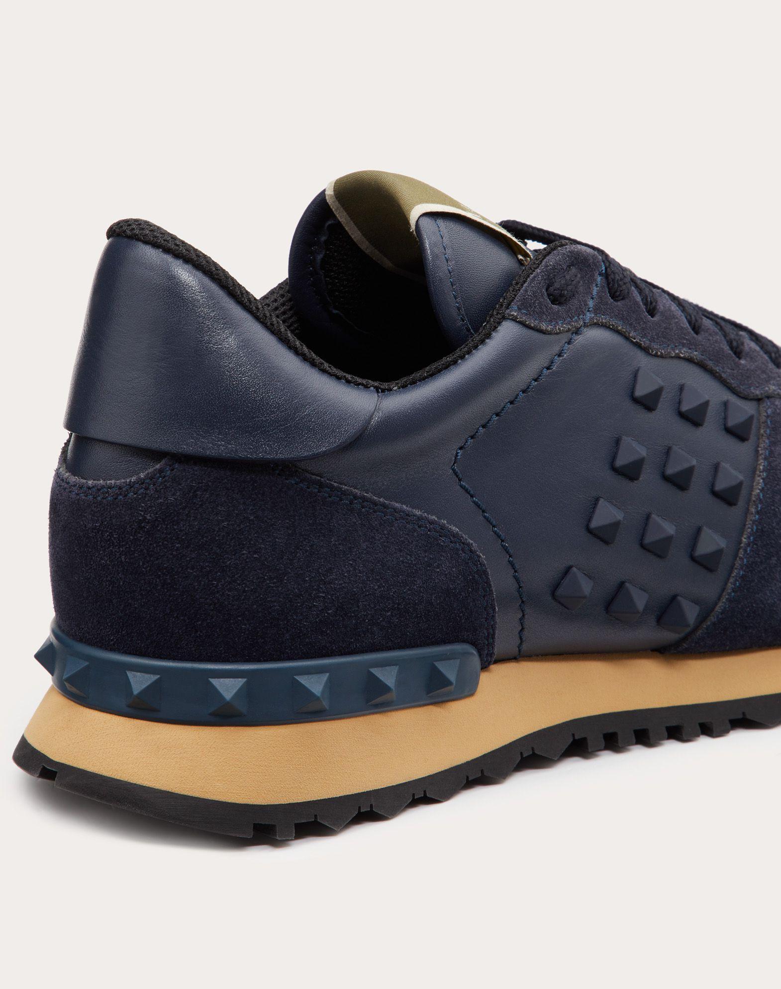 Rockstud Calfskin Sneaker in Dark Blue