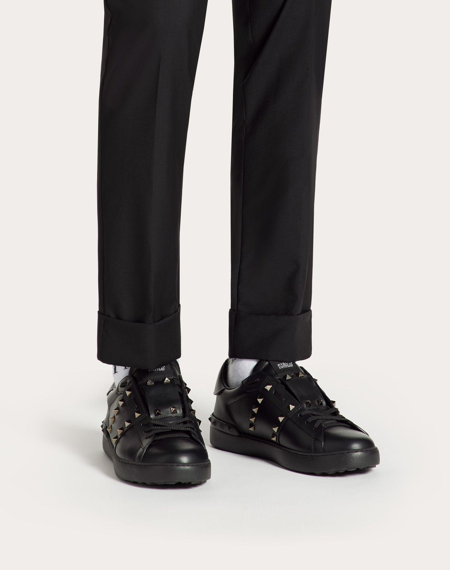 Valentino Leather Band Sneaker in Black