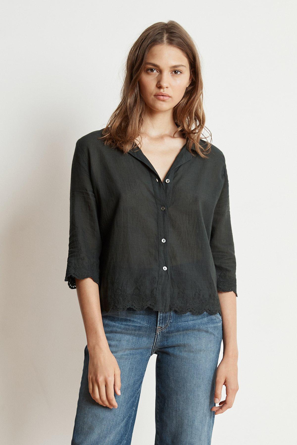 15c96fc2ee Velvet By Graham   Spencer Windsor Schiffli Lace Button-up Shirt in ...