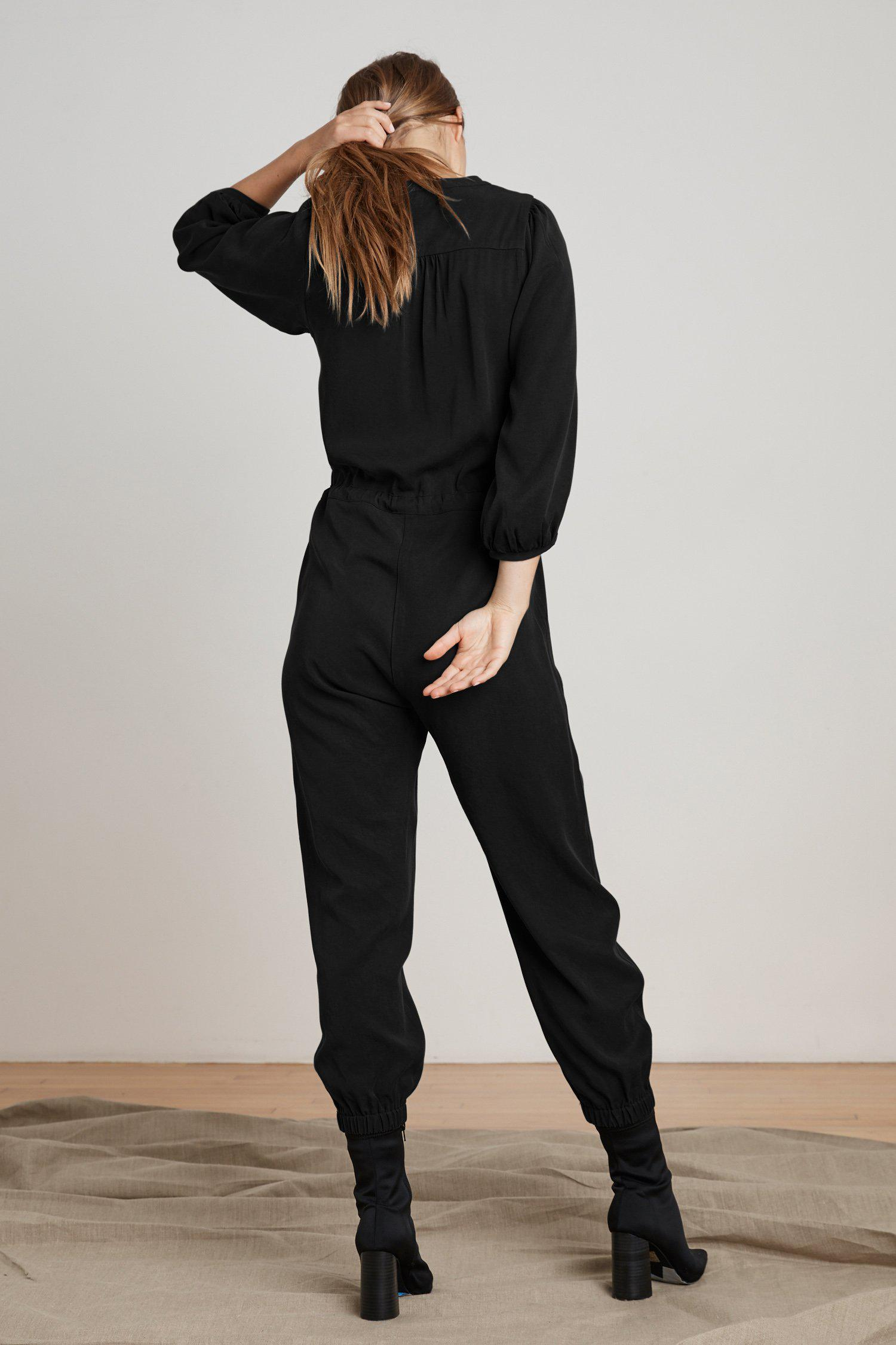 Mango Synthetic Harper Puff Sleeve Jumpsuit In Black