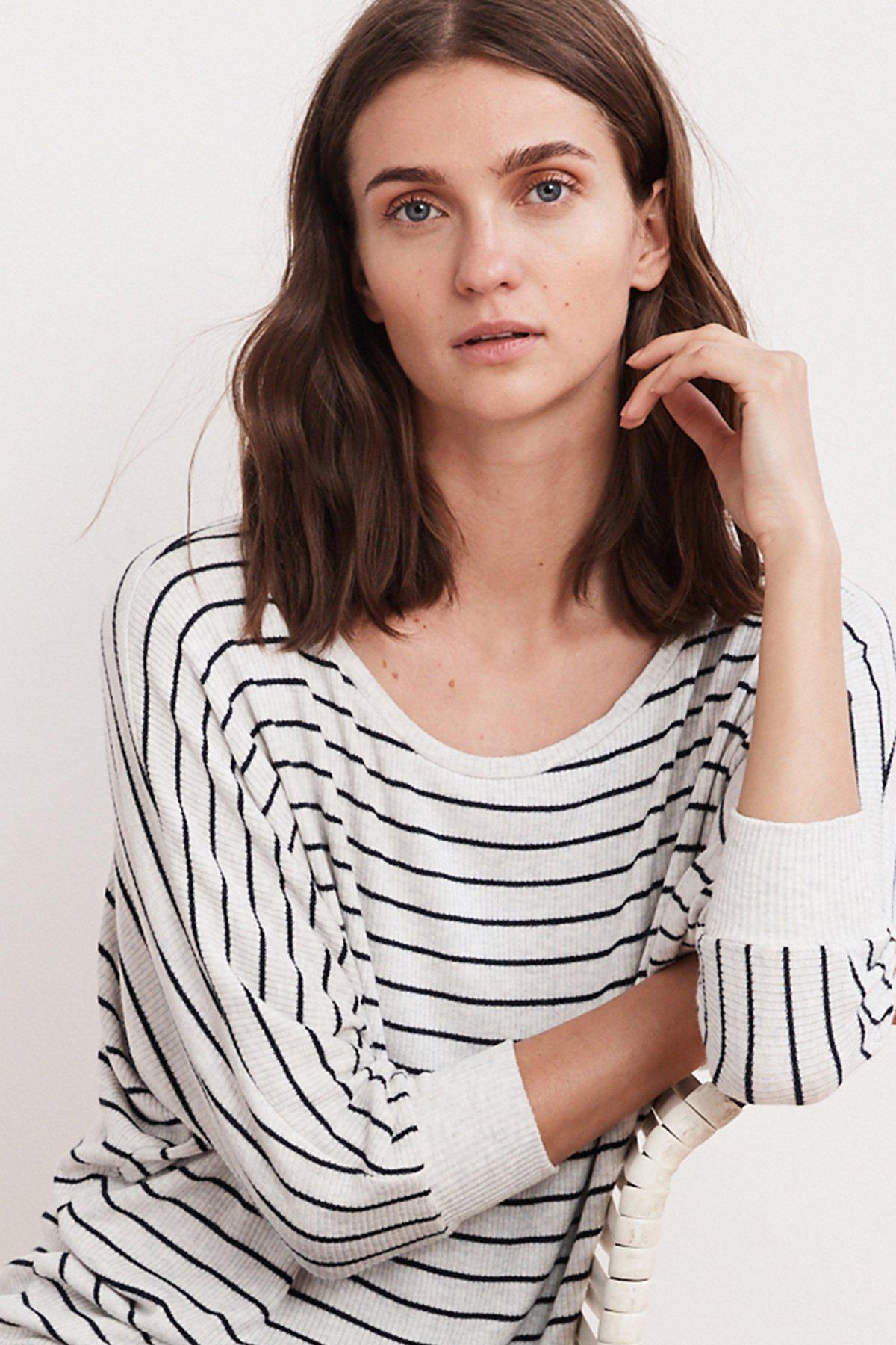 Velvet by Graham /& Spencer Womens Candida Rib Stripe Top