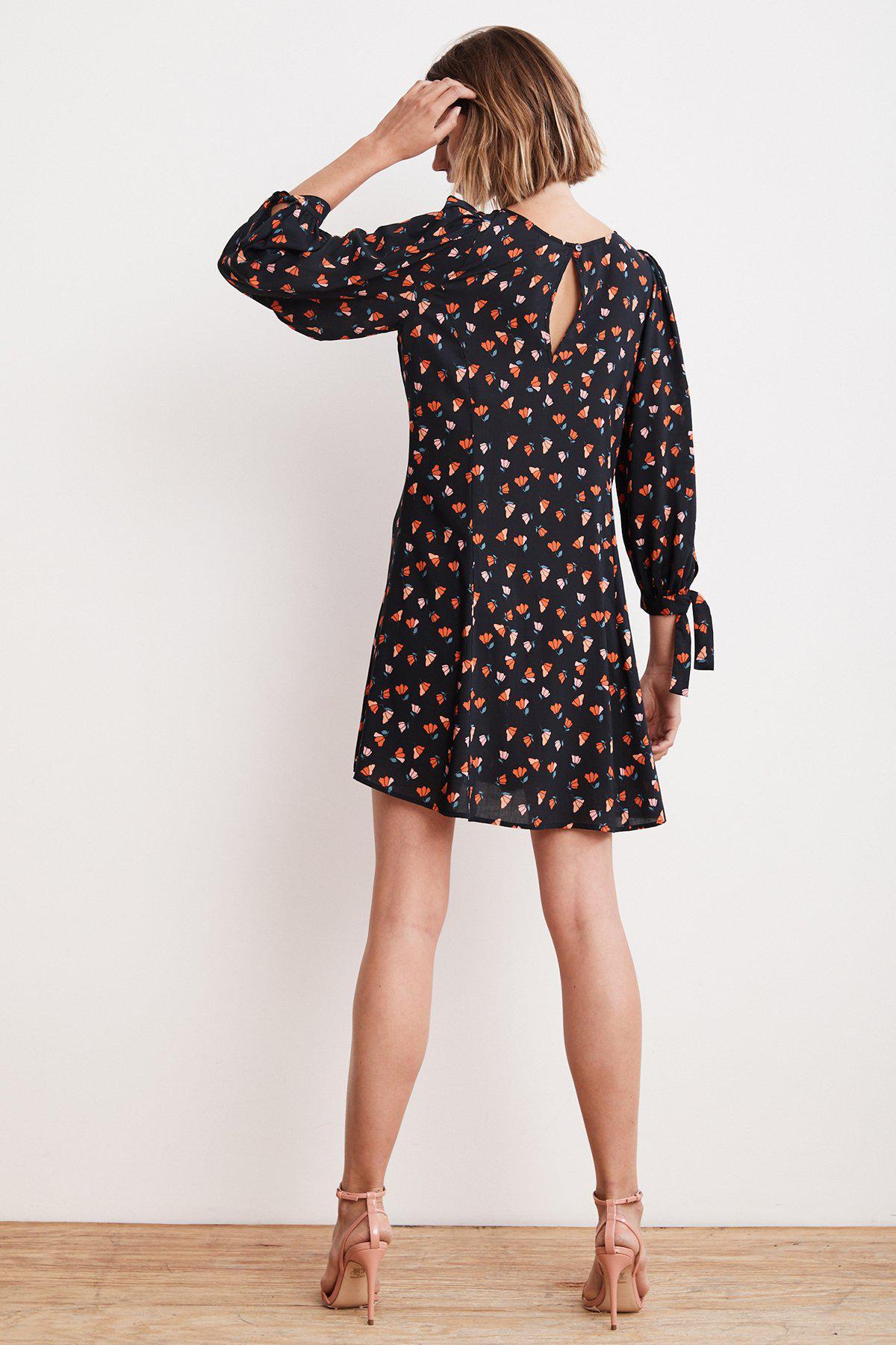 f33df674 Velvet By Graham & Spencer - Black Marnita Printed Challis Tie Sleeve Dress  - Lyst. View fullscreen