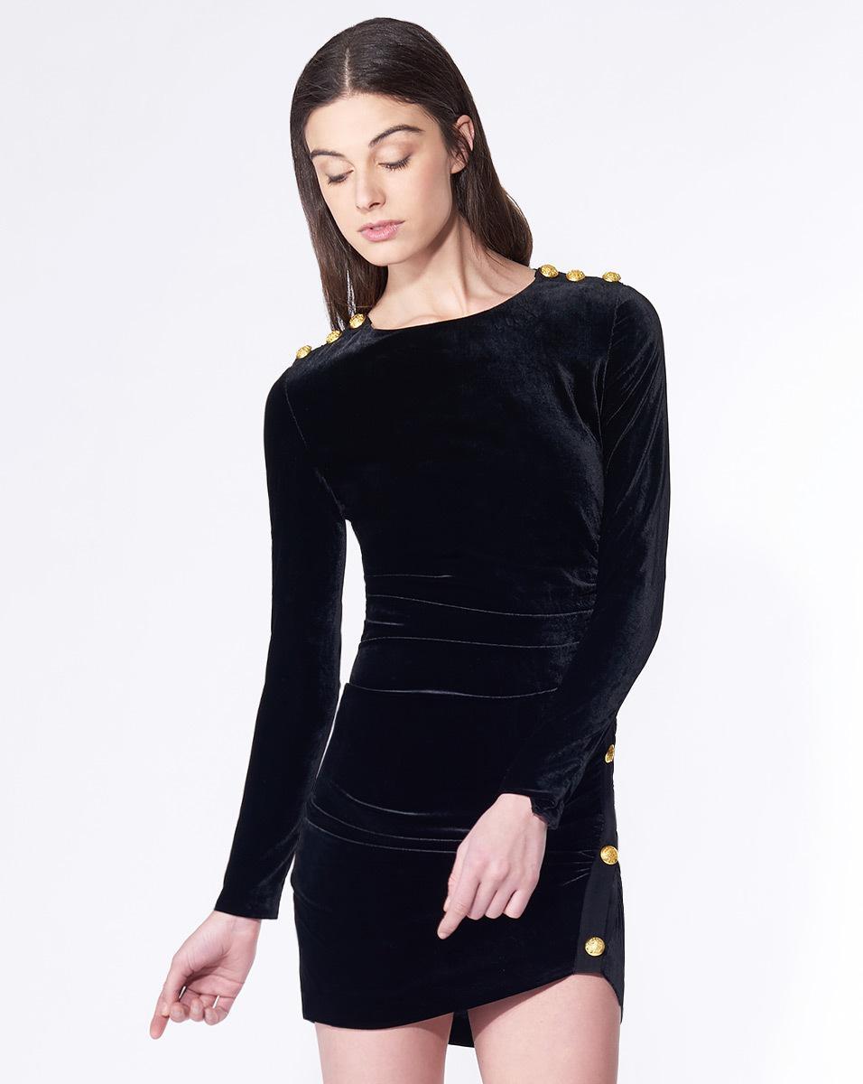 Veronica Beard Ira Side Ruched Velvet Dress In Black Lyst
