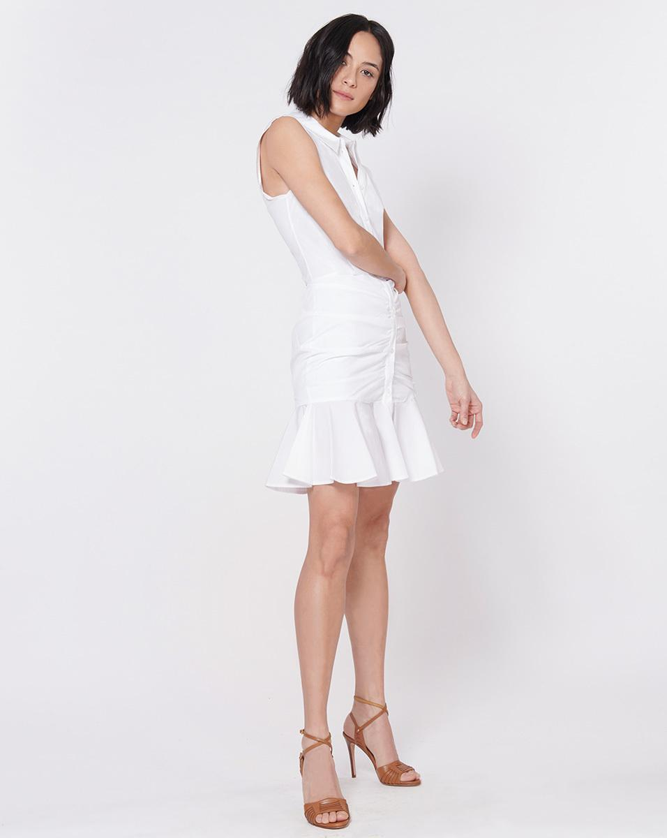 Lyst Veronica Beard Bell Buttoned Down Ruched Shirt Dress In White