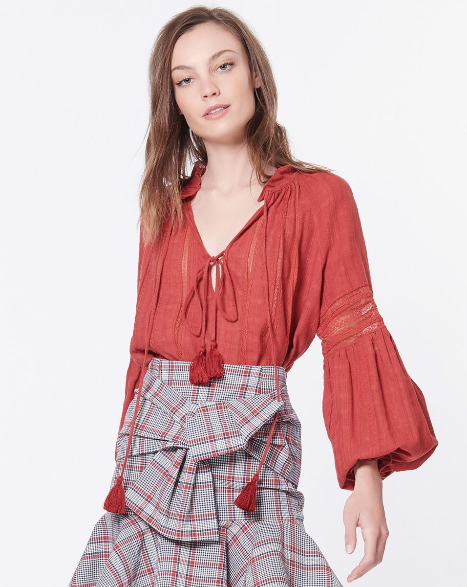 81190891cb Veronica Beard Kalina Blouse in Red - Lyst