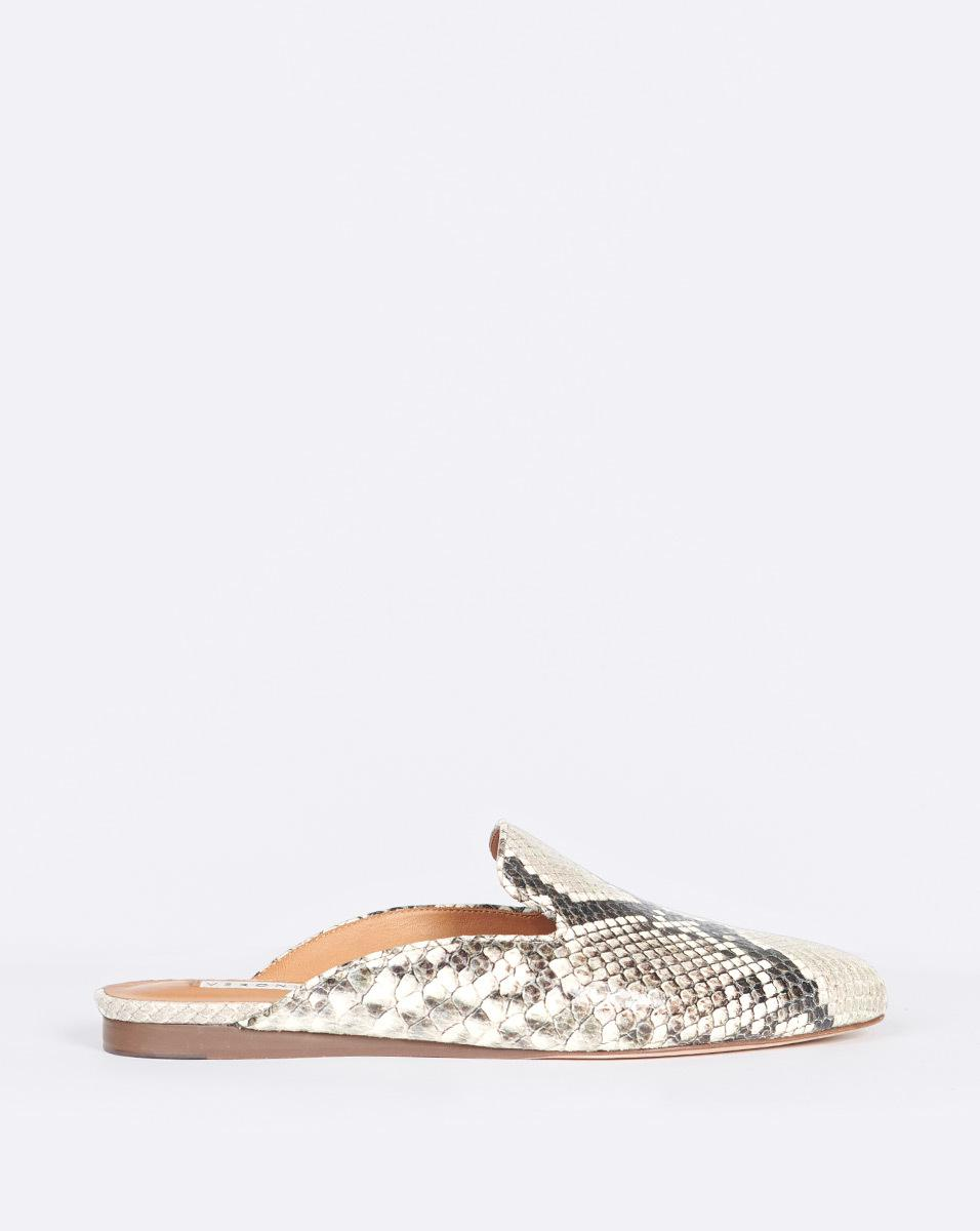 Veronica Beard Natural Greyson Mule Python-embossed Leather