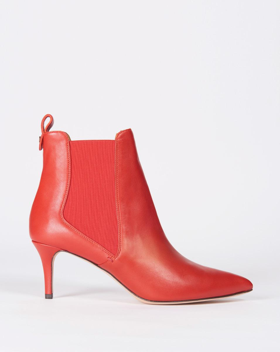 Veronica Beard Leather Parker Bootie in Brick (Red)