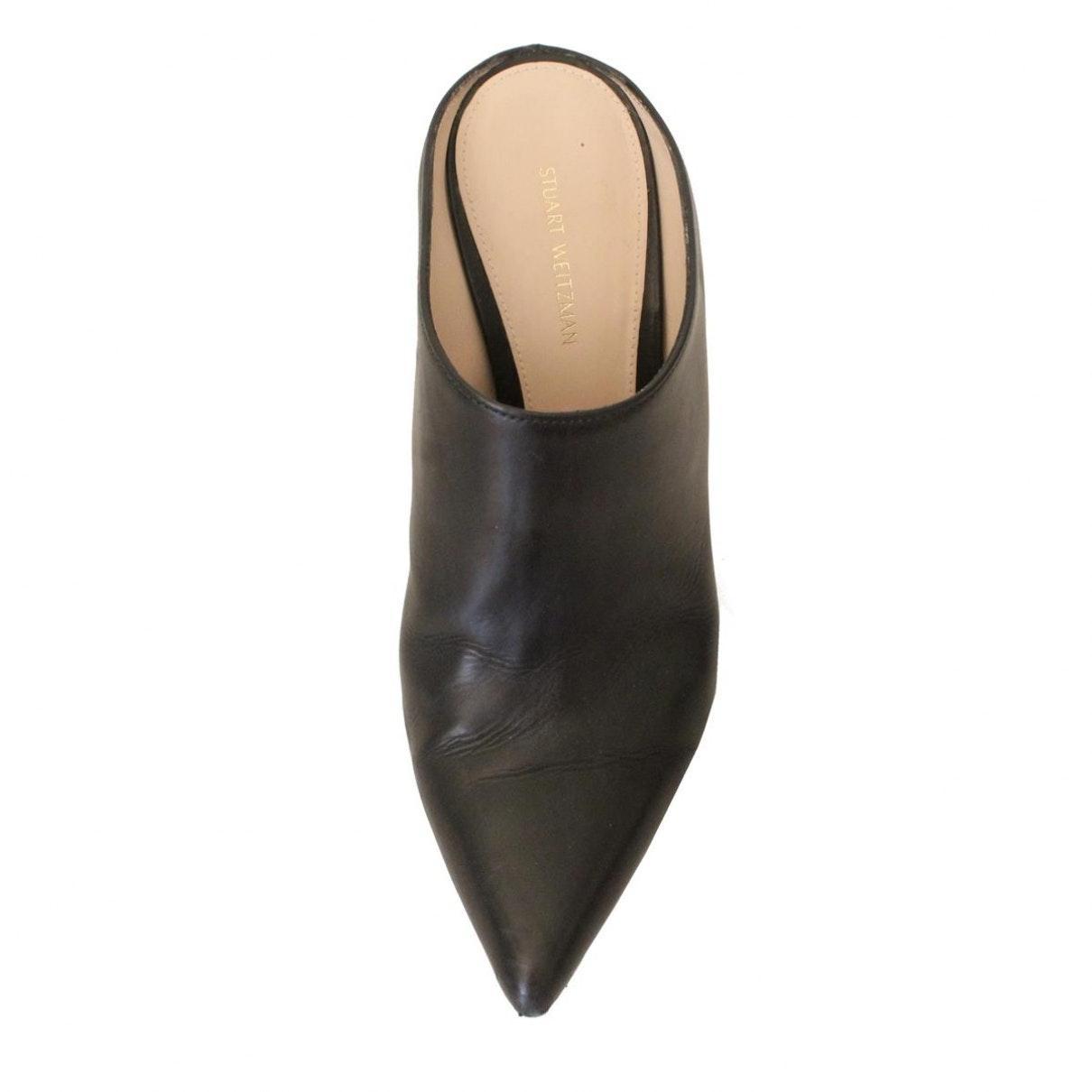 Sandalias en cuero negro N Stuart Weitzman de color Negro
