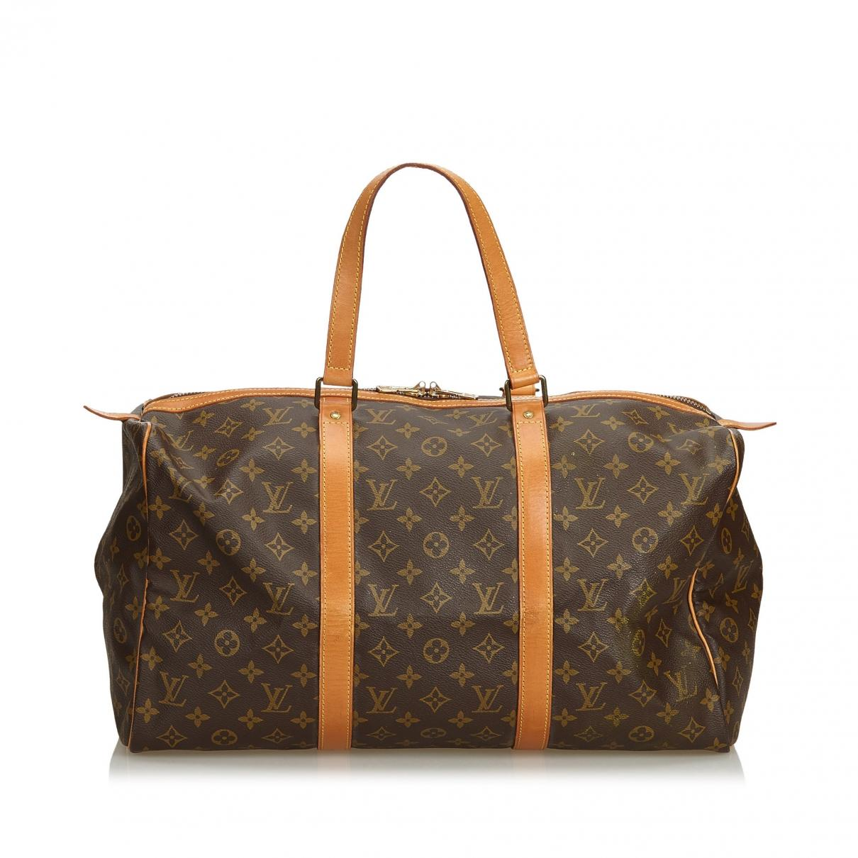 766bcebe4625 Lyst - Louis Vuitton Pre-owned Keepall Brown Cloth Travel Bags in Brown