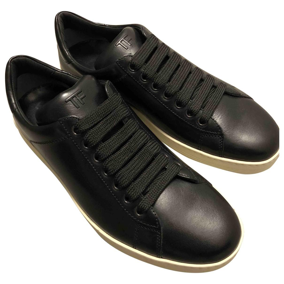 Tom Ford Leather Low Trainers in Black