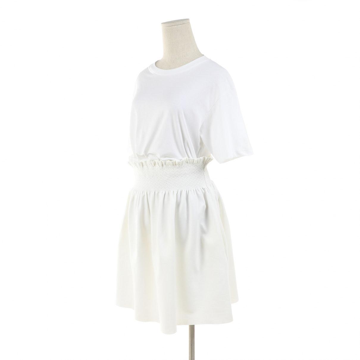Vestido en algodón blanco Miu Miu de color Blanco