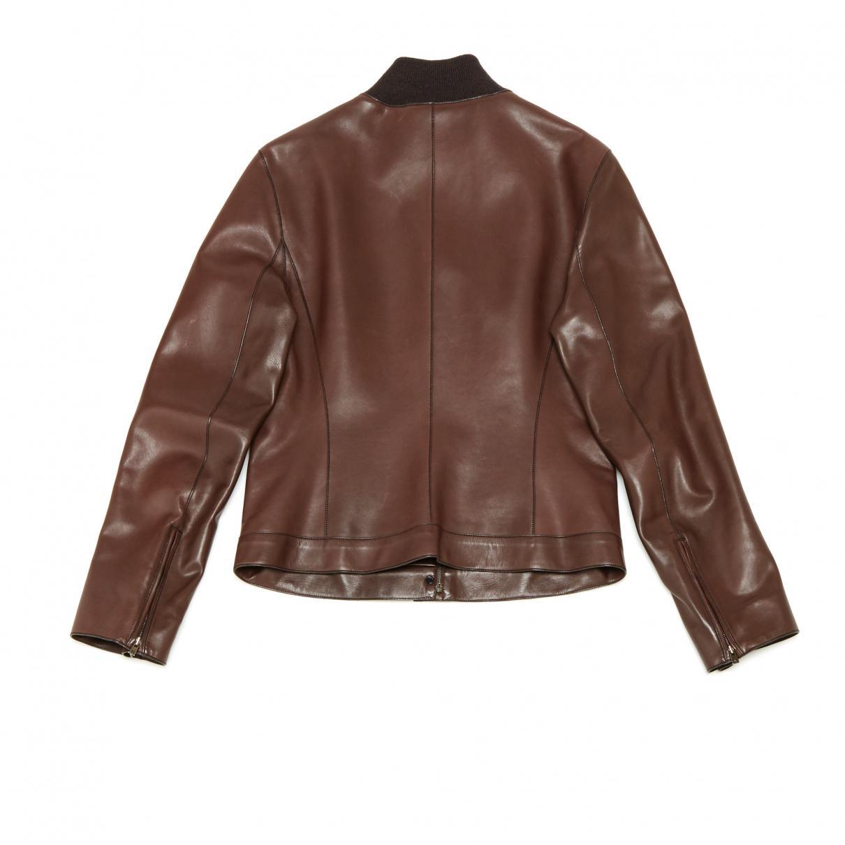 3663a6e1dcd Lyst - Blouson en cuir Hermès en coloris Marron