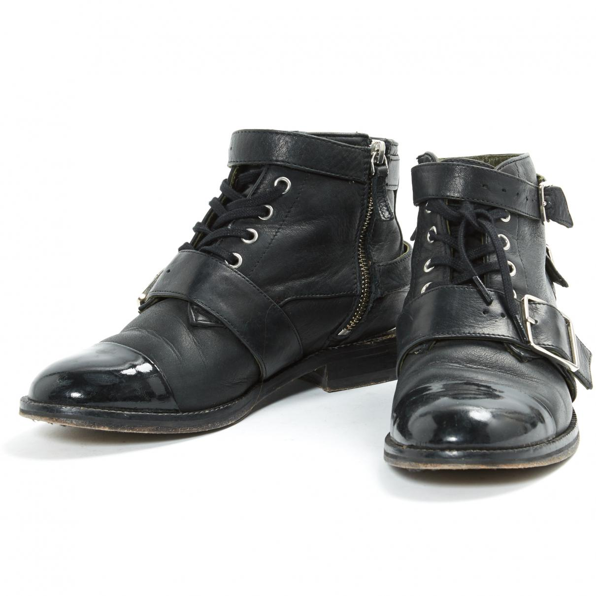 8451cb2c06 The Kooples - Pre-owned Black Leather Ankle Boots - Lyst. View fullscreen