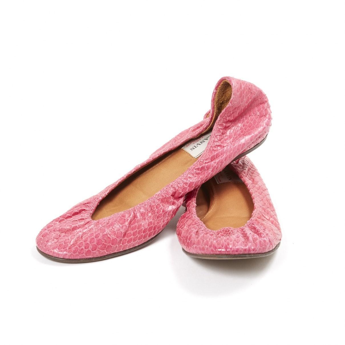 Bailarinas en cuero rosa Lanvin de Cuero de color Rosa