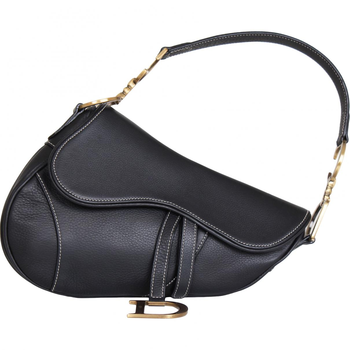 Dior Saddle Leather Handbag in Black - Lyst 03d23b602c