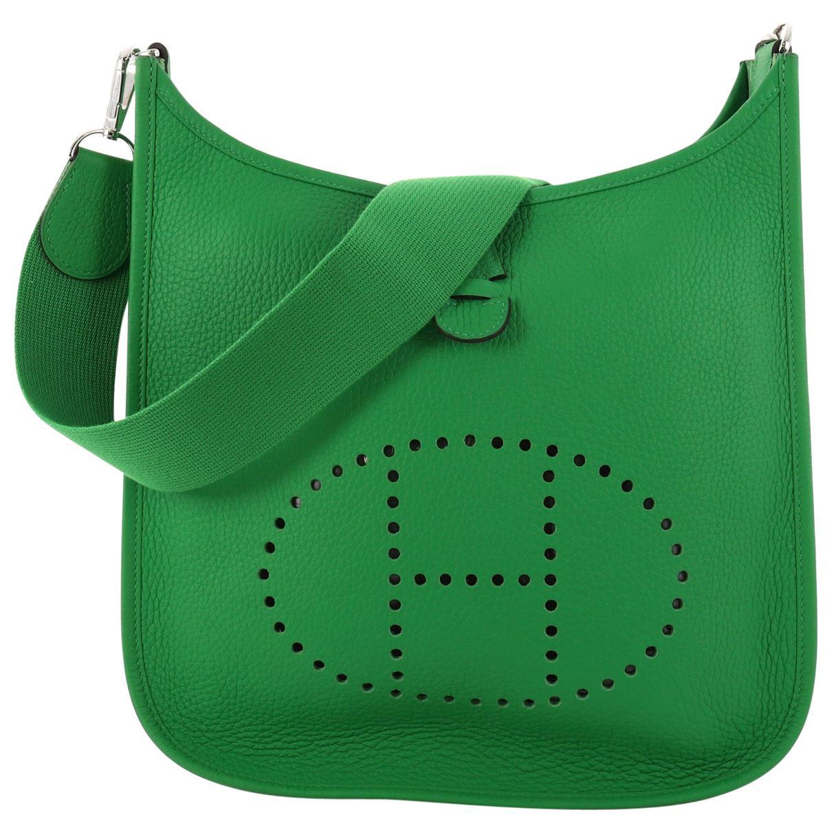 3f807489e525 ... spain hermès. womens green pre owned evelyne leather handbag b11a3 f379e
