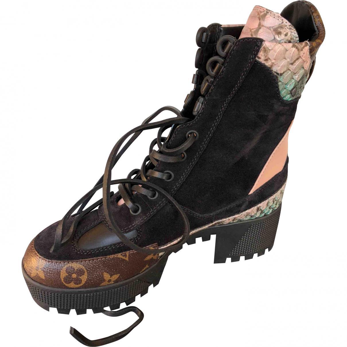 e4aefa87c62d Lyst - Louis Vuitton Multicolour Suede Ankle Boots in Black
