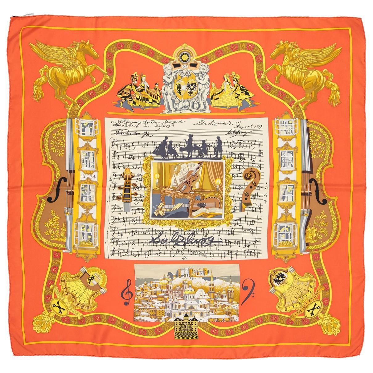 Hermès. Women s Carré 90 Orange Silk Silk Handkerchief.  394  328 From Vestiaire  Collective 9020ed99d30