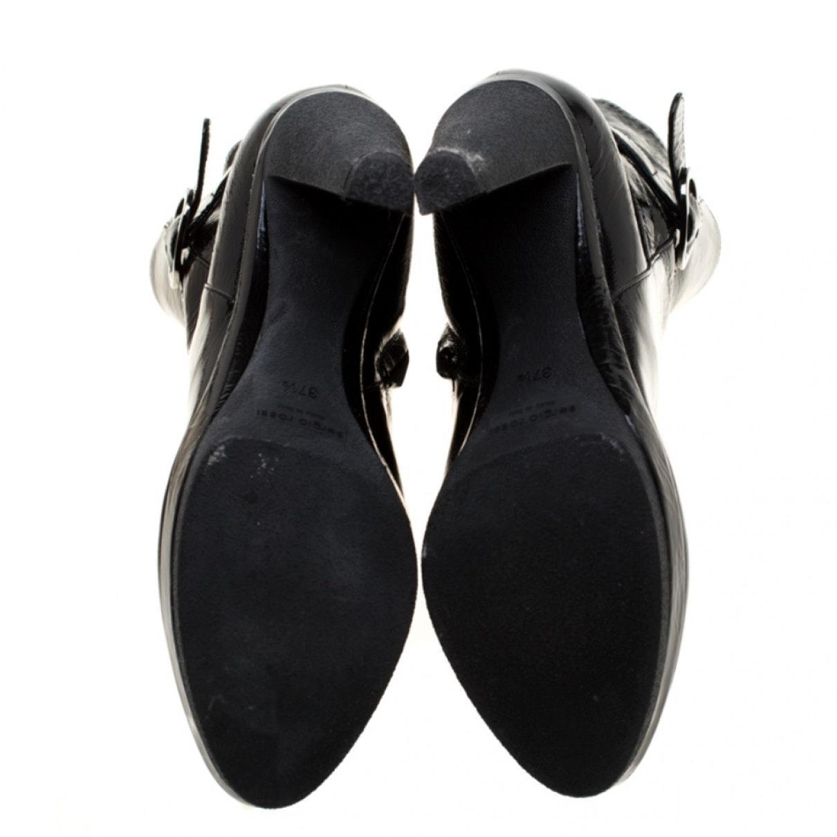 Botines de Charol Sergio Rossi de Cuero de color Negro