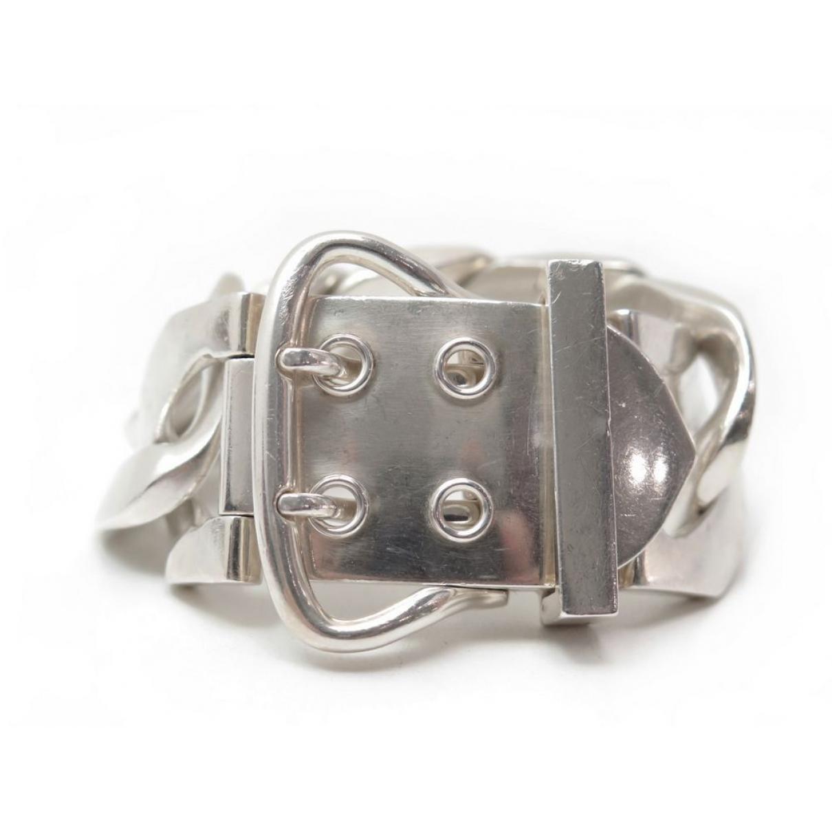 Lyst - Hermès Pre-owned Ceinture Silver Bracelet in Metallic bc961d2f538
