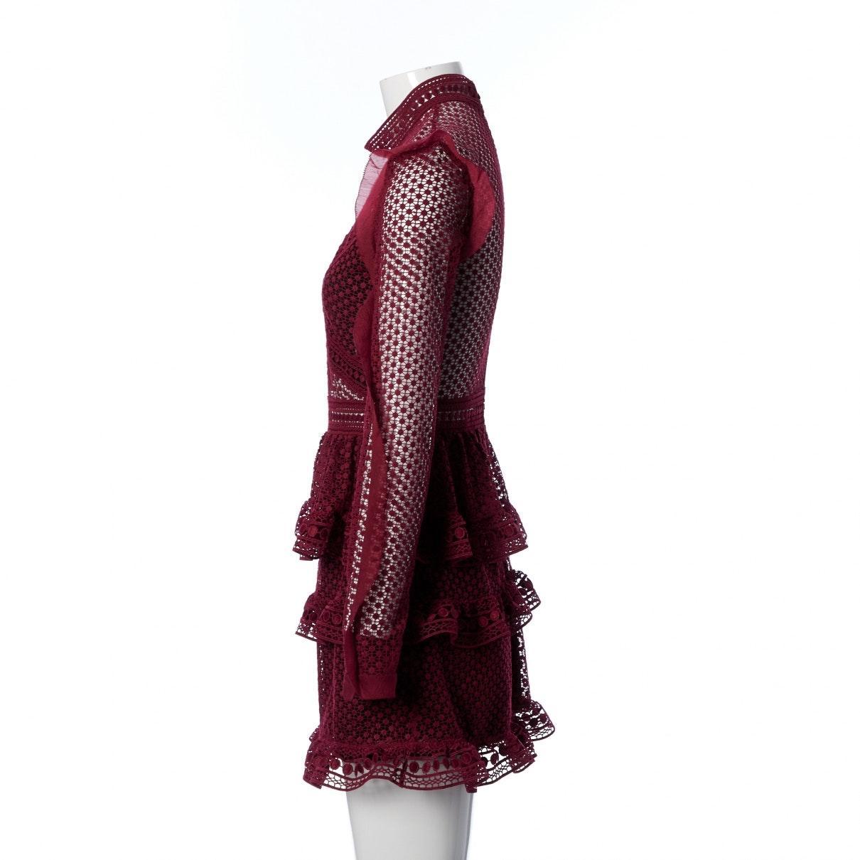 Robe en Polyester Bordeaux Synthétique Self-Portrait en coloris Rouge