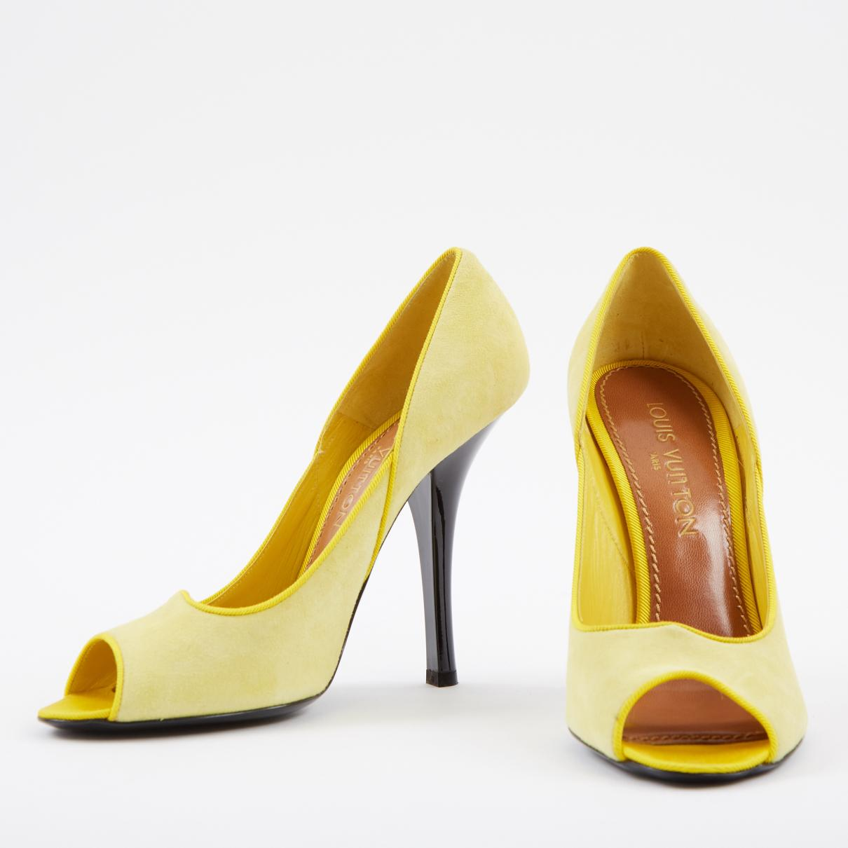 uk store outlet on sale info for Louis Vuitton Yellow Suede Heels - Lyst