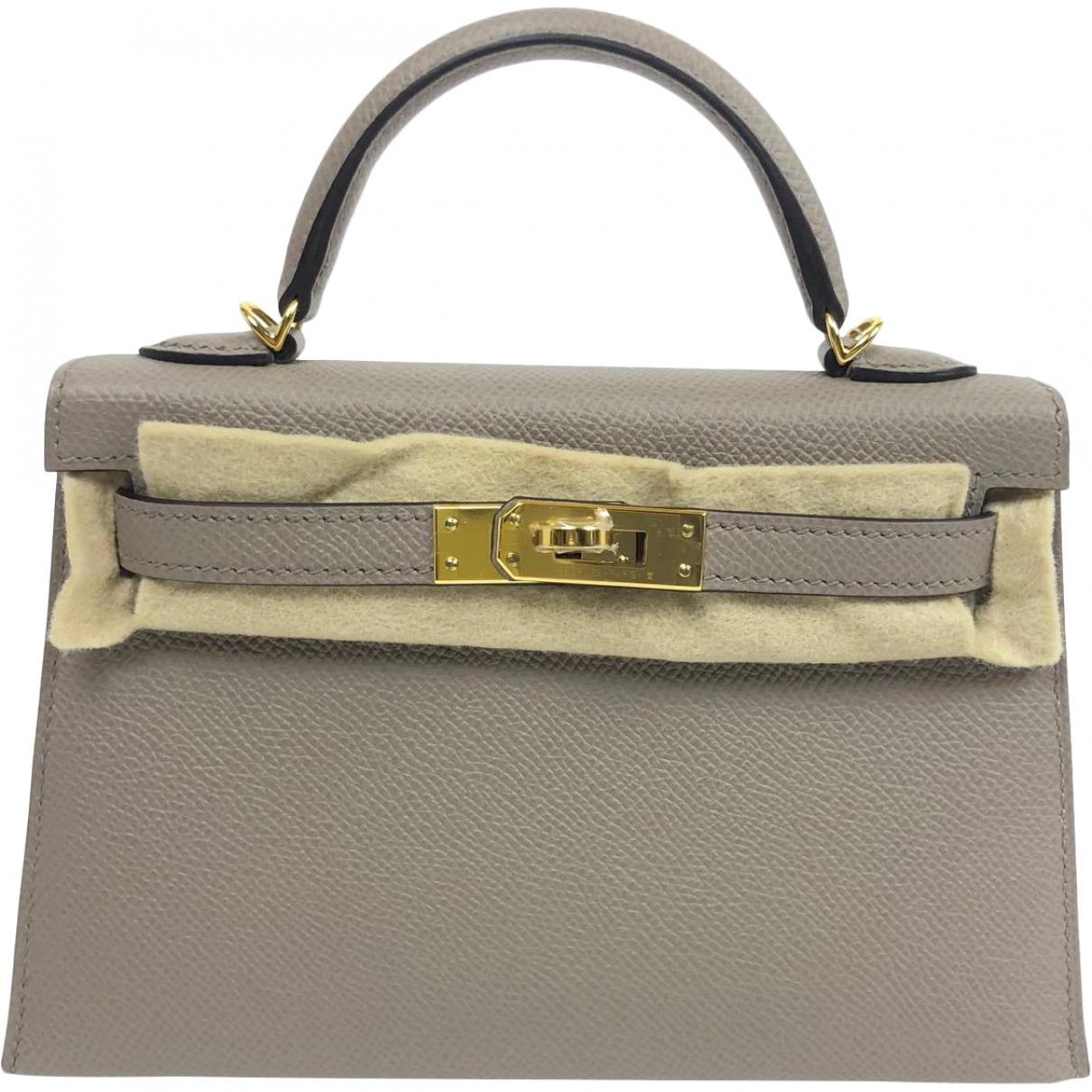 91225d62b4ed Lyst - Hermès Kelly Mini Grey Leather Handbag in Gray